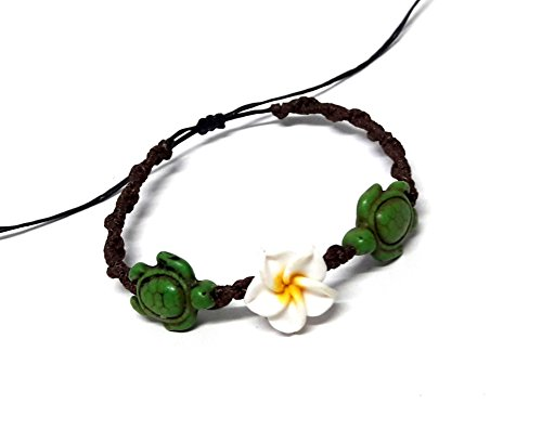 LAVIP Leather Bracelet Hawaiian Plumeria Flower Sea Turtle Green Bracelet Turtle Hemp Bracelet ()