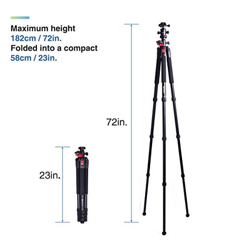 Moman Camera Tripod with Telescopic Horizontal Column Arm and Ball Head for Macro Shoot/Overhead Photography/Travel / DSLR Camera Video Camcorder by Moman (Image #3)