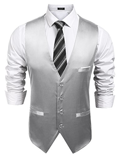 COOFANDY Mens Formal Sleeveless Business Dress Suit Waistcoat Button Down Vest Silver Grey - Suits For Sleeveless Men
