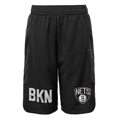 NBA Brooklyn Nets Youth Boys Jump Ball Shorts, Medium(5-6), Charcoal (Nets Nba Brooklyn Jersey)