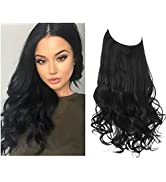 SARLA Black Hair Extensions Halo for Women Wavy Curly Long Synthetic Hair Pieces 18 Inch 4.2 Oz A...