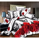 Holystore Super Soft Comforter Set 4-piece Bedding Set 3D Printed Design Marilyn Monroe and Rose Full