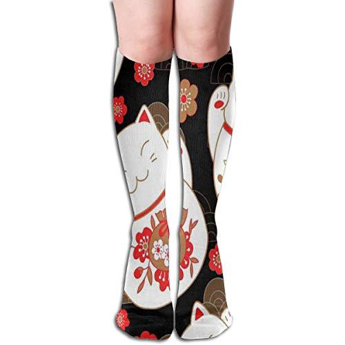 Girls Socks Mid-Calf Cats Maneki Neko Lucky Charms Sakura Flowers Winter Warmth Great For Christmas