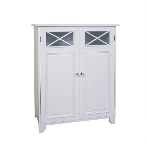 (Elegant Home Fashions Dawson Collection Shelved Floor Cabinet, White)