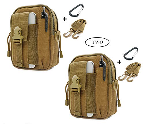 SEVENPICKS Tactical Waist Pack Multi Purpose Bag EDC Pouch Utility (2 Pack) Upgraded Version with Strap Camping Hiking Pouch Nylon Cell Phone Bag(2Khaki) (Odyssey Mobile Gps)