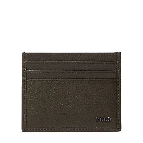 Polo Ralph Lauren Men`s Metal-Plaque Leather Card Case (Olive (5377), One Size) (Holder Card Polo)