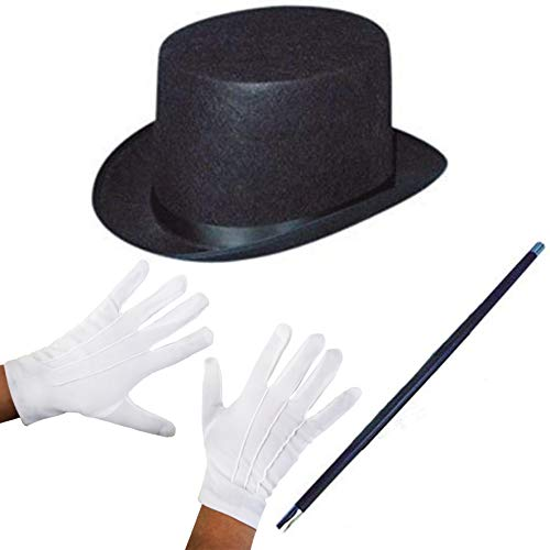 ILOVEFANCYDRESS Adults 3 Piece Magician Fancy Dress Set Top Hat + Magic Wand + White Gloves Wizard Accessory Kit (Magicians Hat And Wand)
