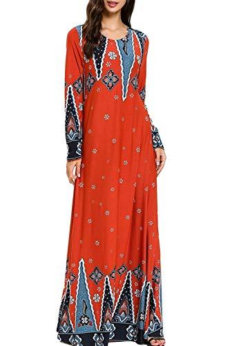 Muslim Dresses for Women Floral Print Long Sleeve Casual Dress Abaya Kaftan Islamic Clothing Maxi Long Prom Dresses Red (Islamic Prom Dresses)