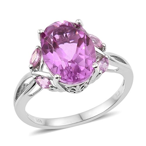 Sapphire Platinum Ring (925 Sterling Silver Platinum Plated 5.5 Cttw Oval Lilac Quartz, Pink Sapphire Gift Ring Size 6)