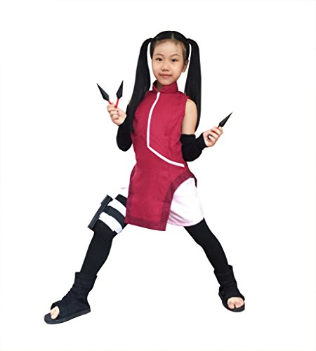 Anime Ninja Girl Costume (DAZCOS Kids Size Girls The Last Uchiha Sarada Anime Cosplay Costume (Child Medium))