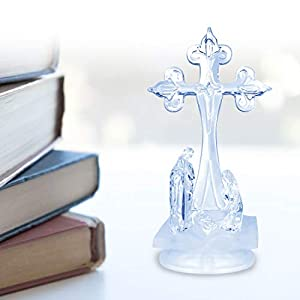 Trail Watcher Lighted Nativity Cross Decoration Heavenly Lights LED Pedestal Cross Home Decor Jesus Holy Figurine Style Religious Decor (Style 2)