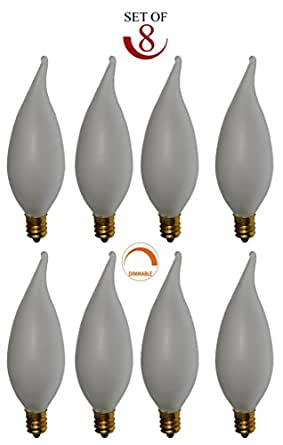 SleekLighting Flame Tip Chandelier Bulb (40W/120V) - Pack of 10 (Frosted)
