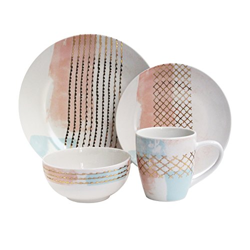 American Atelier 7117-16-RB Soiree Mondrian Dinnerware Set,
