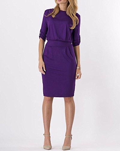 Moollyfox Mujeres Con Cuello Redondo Vestido de Lápiz Corto Manga Jersey Casual Trabajo Oficina Vestido Púrpura