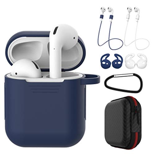 (7 in 1 Airpods Protective Case Accessories Kits, Silicone Cover for Apple Airpod(Front LED Not Visible) with 2X Anti-Lost Rope/1X Anti-Hanging Buckle/2X Earbuds/1X Headset Package )