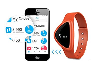 iChoice Star Bluetooth Low Energy Activity Tracker with BMI Management,Tracking Steps,Distance,Calories Burned,Fat Burned Functions (Orange)