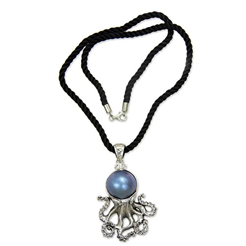 Mabe Clasp - NOVICA Dyed Blue Cultured Mabe Pearl .925 Sterling Silver Necklace, 18
