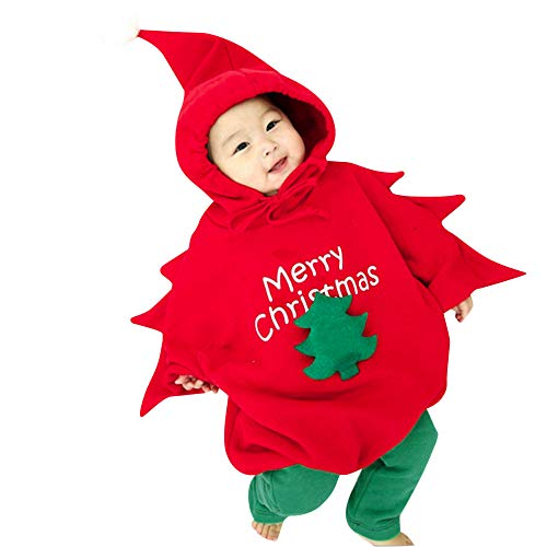 Baby Toddler Christmas Costumes Xmas Tree Hooded Romper Jumpsuit+Warm Legging -