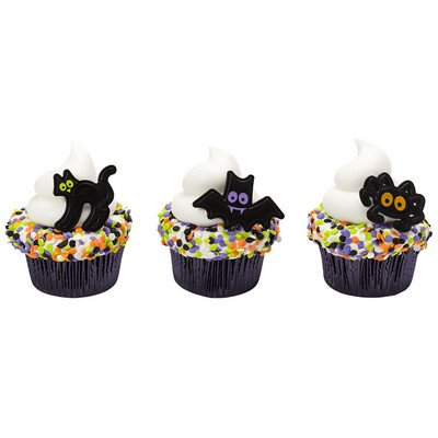 CakeDrake HALLOWEEN Bat WITCH Cat Black Icons Plastic (12) Party Cupcake Topper Picks -