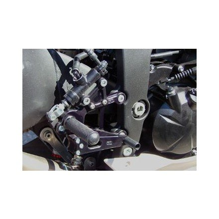 (09-12 KAWASAKI ZX6R: Woodcraft Rearset Kit With Brake Pedal (Standard/GP Shift) (Black))