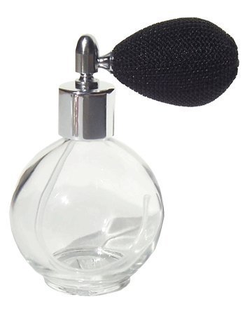 4.33 oz. Empty Refillable Glass Perfume Bottle With Black Mesh Atomizer Bulb ~ New With Vintage Style Private Label