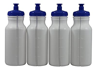 Sports Squeeze Plastic Water Bottles Push/Pull Cap 20 Ounce BPA-Free Set 4