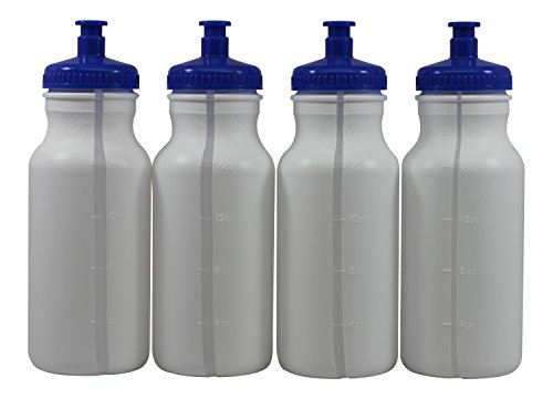 (Pinnacle Mercantile Sports Squeeze Plastic Water Bottles Push/Pull Cap 20 Ounce BPA-Free Set 4)