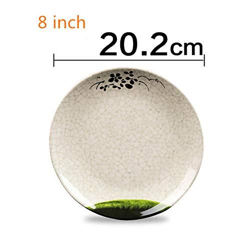 1 Piece 8 Inch Melamine Dish Plate Flower Bamboo Pattern Kitchen Spaghetti Sushi Rice Snack Tableware Chinese Restaurant Use,1