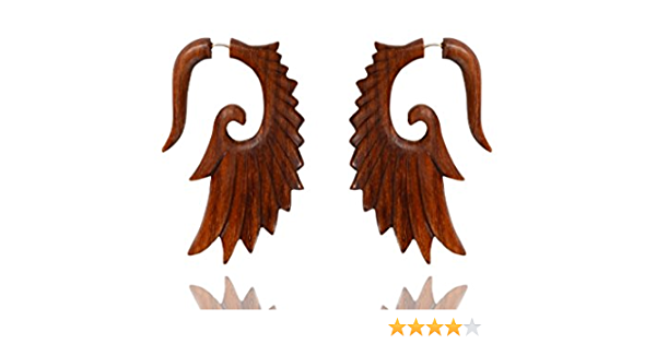 Tibetan Antique Art Brown Wooden Handcrafted Tribal Wings Design B I G Fake Guage Wood Earring WER001