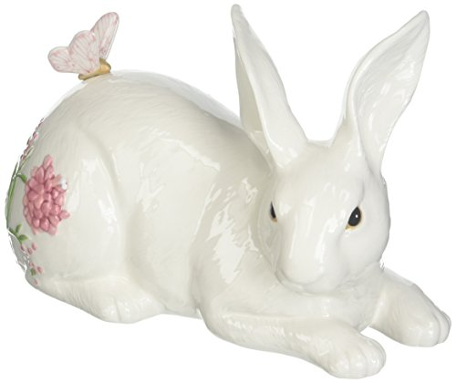 Fitz and Floyd Cherry Blossom Rabbit Figurine, Reclining White