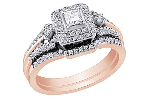 1/2 Carat (Cttw) Princess Diamond Bridal Wedding Engagement Ring 14K Rose Gold Band Set Ring Size-11.5