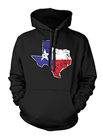 Texas State Map - USA Men's Hoodie Sweatshirt (Medium, BLACK) (Hoodies Texas)