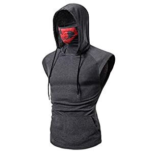 Men's Hoodie,Skull Mask Pullover Hippie Casual Sleeveless Workout Tank Top Sweatshirt Gray