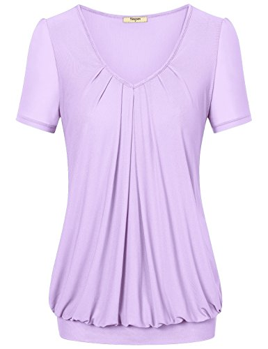 Women Shirts and Blouses, Timeson Short Sleeve V neck Pleated Front Tunic Top for Juniors X-Large Lavander