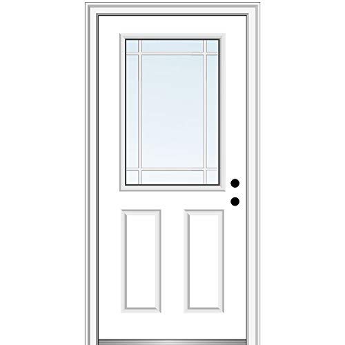 National Door Company Zz07019l Fiberglass Brilliant White Left Hand Inswing Prehung Entry Door Grilles Between Glass 1 2 Lite 2 Panel 32 X80 Amazon Com Industrial Scientific