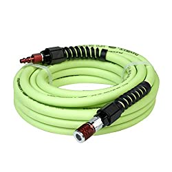 Flexzilla Pro Air Hose With Colorconnex Industrial Type D Coupler & Plug, 38 In. X 25 Ft, Heavy Duty, Lightweight, Hybrid, Zillagreen - Hfzp3825yw2-d