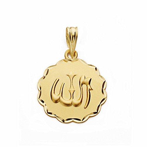 Médaille pendentif 18k 16mm or Dieu est grand. sculpté sculptée [AA2554]