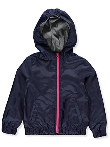 (French Toast Big Girls' Windbreaker, Navy, L (10/12))