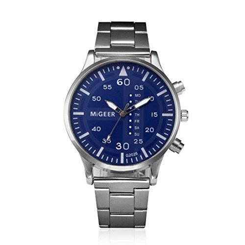 Transparent Dial Faux Leather Wrist Watch (Blue) - 3