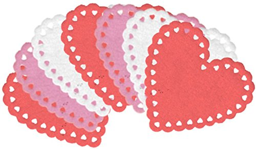 6-inch Decorative Felt Heart Shapes: Red, Pink, White (8-Pack)