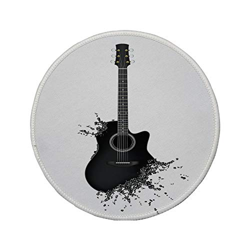 - Non-Slip Rubber Round Mouse Pad,Guitar,Monochrome Musical Instrument with Strings Acoustic Color Splashes Creative Outlet,Black White,7.87