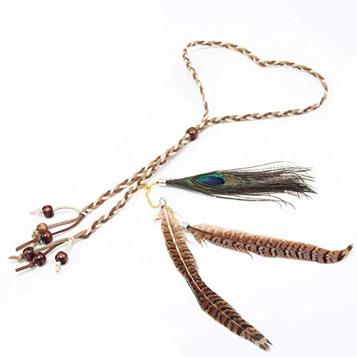 Show Lead Slip Braid - LODDD Bohemia Peacock Feather Headdress Headband Fashion Braid Hair Hoop Headband Lead Rope Hairband