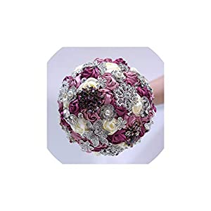 Fun-House Sparkly Crystal Diamond Satin Rose Wedding Flowers Bridal Bouquets 71