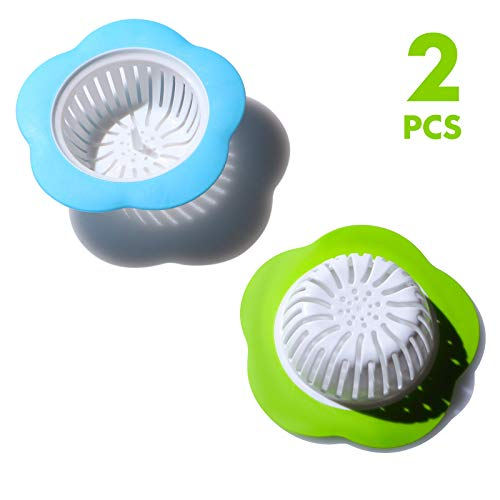 - 2Pcs Flower Kitchen Sink Strainers Plastic Drain Basket Filter Bathroom Hair Plug Stopper Blue+Green