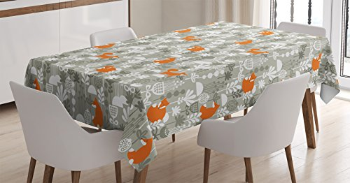 Ambesonne Fox Tablecloth, Fox in The Winter Forest Abstract Cartoon Trees and Nature Animal Decor Pattern, Dining Room Kitchen Rectangular Table Cover, 60 W X 90 L inches, Sage Green and Orange