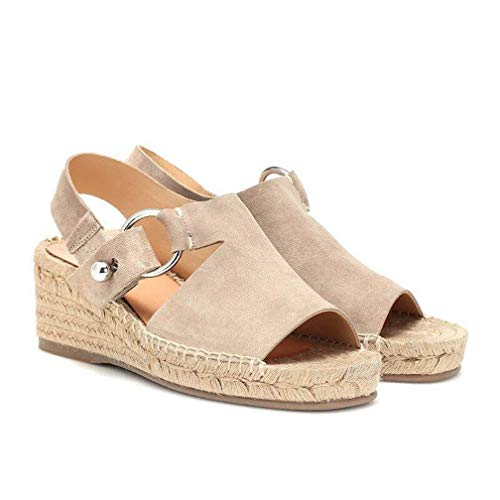 JEFCY Women Fashion Peep Toe Espadrilles Slip On Thick Bottom Comfortable Casual Ladies Platform Wedge Sandals Beige