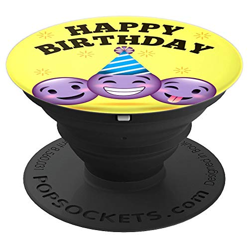 cool vintage happy birthday emoji emoticon Popsocket gift - PopSockets Grip and Stand for Phones and Tablets