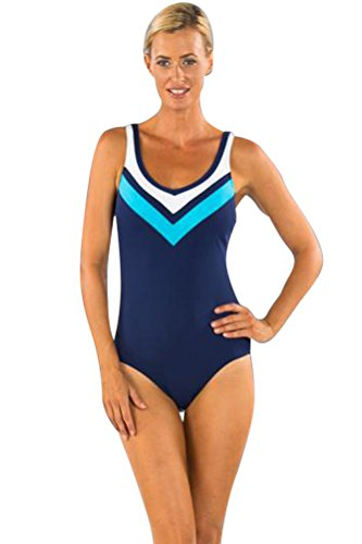 Chlorine Resistant TOGS Blue Color Block V-Neck One Piece Swimsuit Size 16 by TOGS