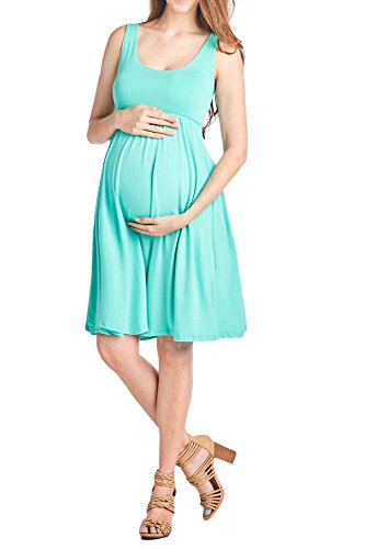 Beachcoco Women's Maternity Knee Length Tank Dress (XL, Aqua (Aqua Stretch Dress)