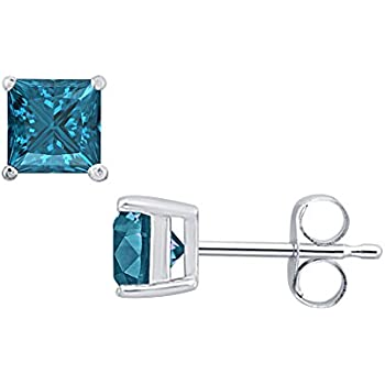 Swiss Blue Topaz Solitaire Fancy Party Wear Stud Earrings 14k Black Gold Over .925 Sterling Silver For Womens Girls 3mm Round Clear